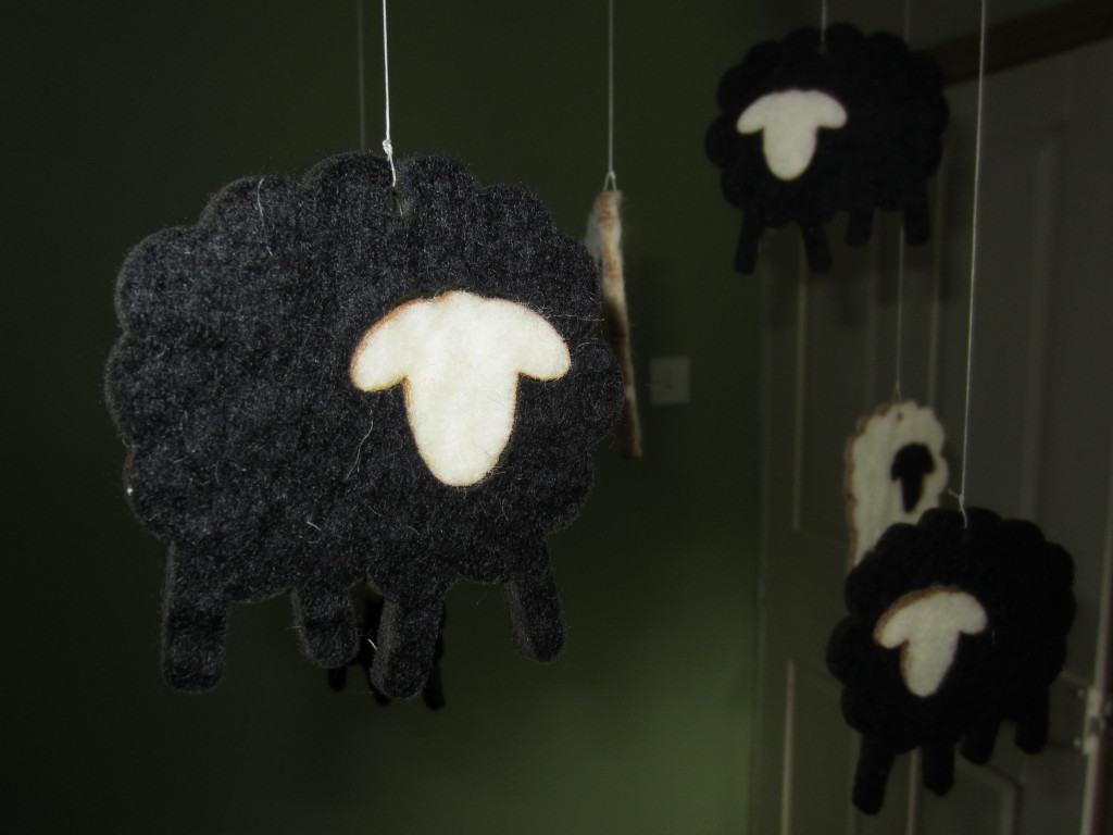 Black Felt Sheep Mobile v1