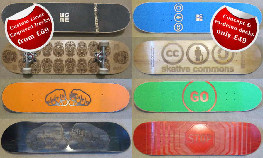 Custom Laser engraved skateboards ex-demo offer